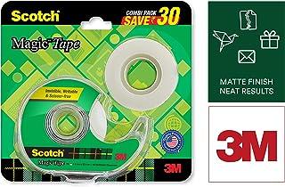 Scotch Magic Tape - The Original Matte-Finish Invisible Tape by 3M, Super Saver Pack - 2 Rolls (Width 1.9cm Length 25.4m)...