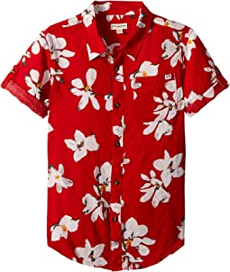 All Over Tropical Flower Button Up Shirt (Toddler/Little Kids/Big Kids)