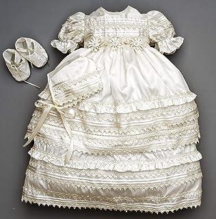 Beautiful Baby Girl Christening Gown Burbvus G002   Baptism Heirloom Set, Matching Shoes & Bonnet   Handmade Baptism Dress Classical Design
