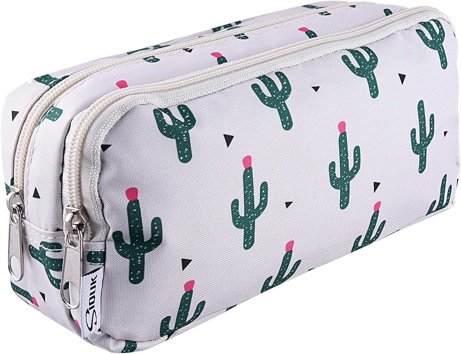 New Shipping Free Shipping SIQUK Cactus Pencil Case Large half Capacity Zippers Double Pen