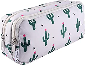SIQUK Cactus Pencil Case Large Capacity Pen Case Double Zippers Pen Bag Office Stationery Bag Cosmetic Bag with Compartments for Gilrs Boys and Adults