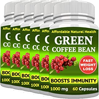 6 Green Coffee Bean - Weight Loss Supplement - Appetite SUPPRESSANT - 360 Capsules 6 Month Supply - 1000 mg - Organic - GM...
