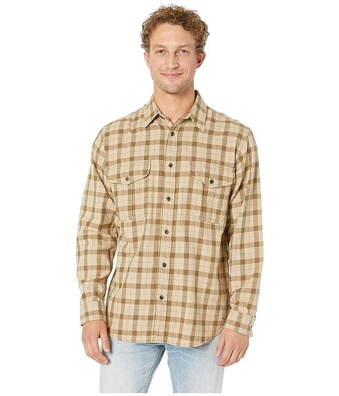 Vintage Mens Clothing | Retro Clothing for Men Filson Lightweight Alaskan Guide Shirt KhakiBrown Plaid Mens Long Sleeve Button Up $83.26 AT vintagedancer.com
