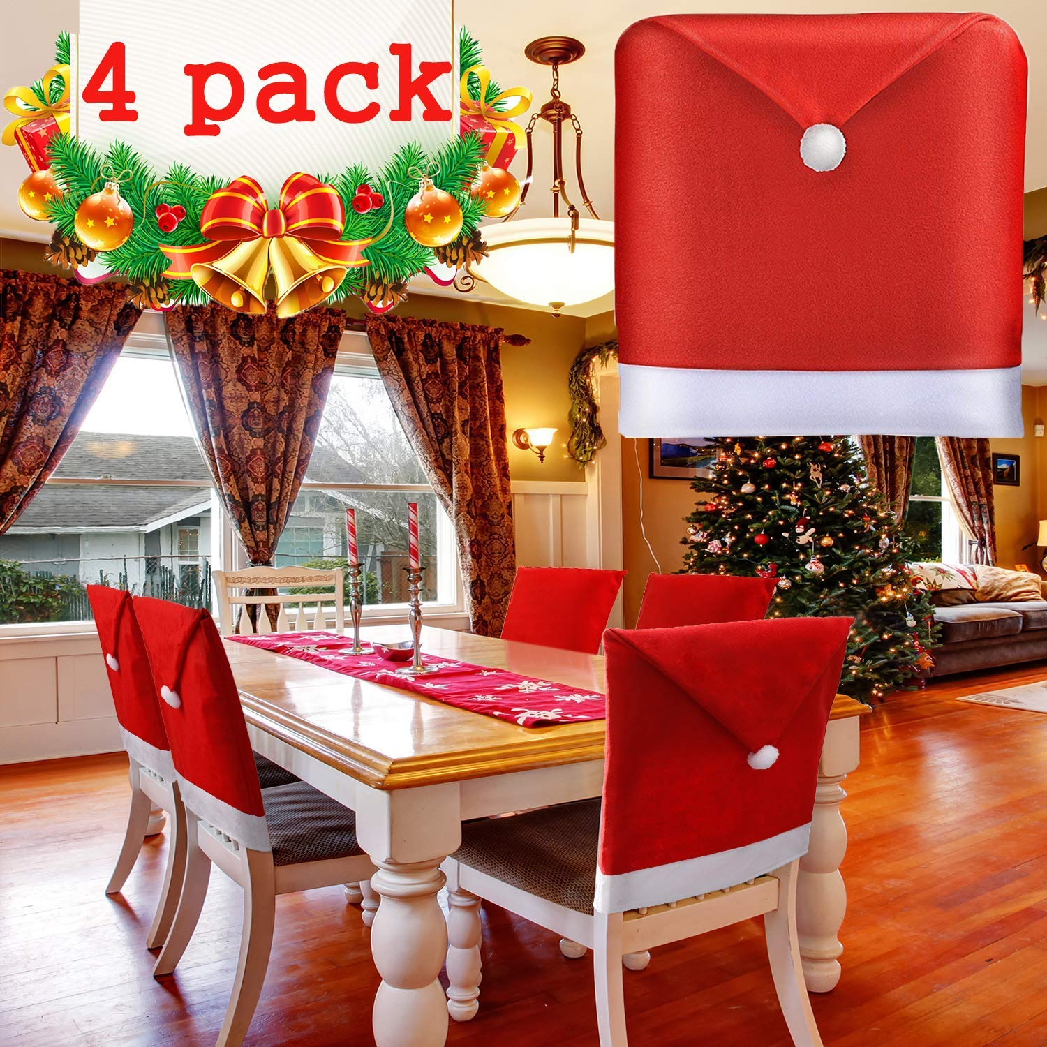 """BSWEEII Christmas Chair Back Cover Santa Claus Hat Slipcovers Decoration  7""""x 7"""" Red Hat Chair Back Covers for Dining Room Home Kitchen Chair  Covers"""