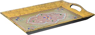 SouvNear SVN-SG-JDHPR-021 Wo Handmade Wooden Decorative 16 x 10 Inch Antique-Look Hand-Painted Wood Tray, one size, Multicolor