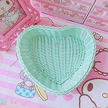 yqs Panier à fruits Love Heart Shape Basket Desktop Sweet Color Basket Photo Props pour Home Storage Décoration Basket Nor...