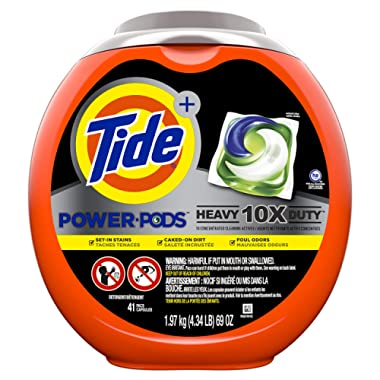 Tide Power PODS Laundry Detergent Liquid Pacs, 10X Heavy Duty for Impossible Stains, 41 Count
