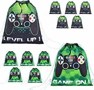 Video Game Party Loot Bags - 12 Pack 10'' x 12'' Game On Theme Gifts Bags for Kid Boys Drawstring Backpack Goodie Candy Fa...
