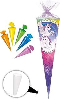 """Set /_ Schultüte /"""" Einhorn /& Pferd Pegasus 5 kleine Zuckertüten Regenbogen"""