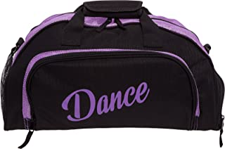 Silver Lilly Womens Nylon Dance Duffel Gym Bag w/Shoe Compartment (Black/Purple, One Size)