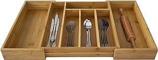 Made Terra Wooden Bamboo Expandable Cutlery Tray Kitchen Drawer Insert Storage Organizer for Utensils Flatware Silverware,...