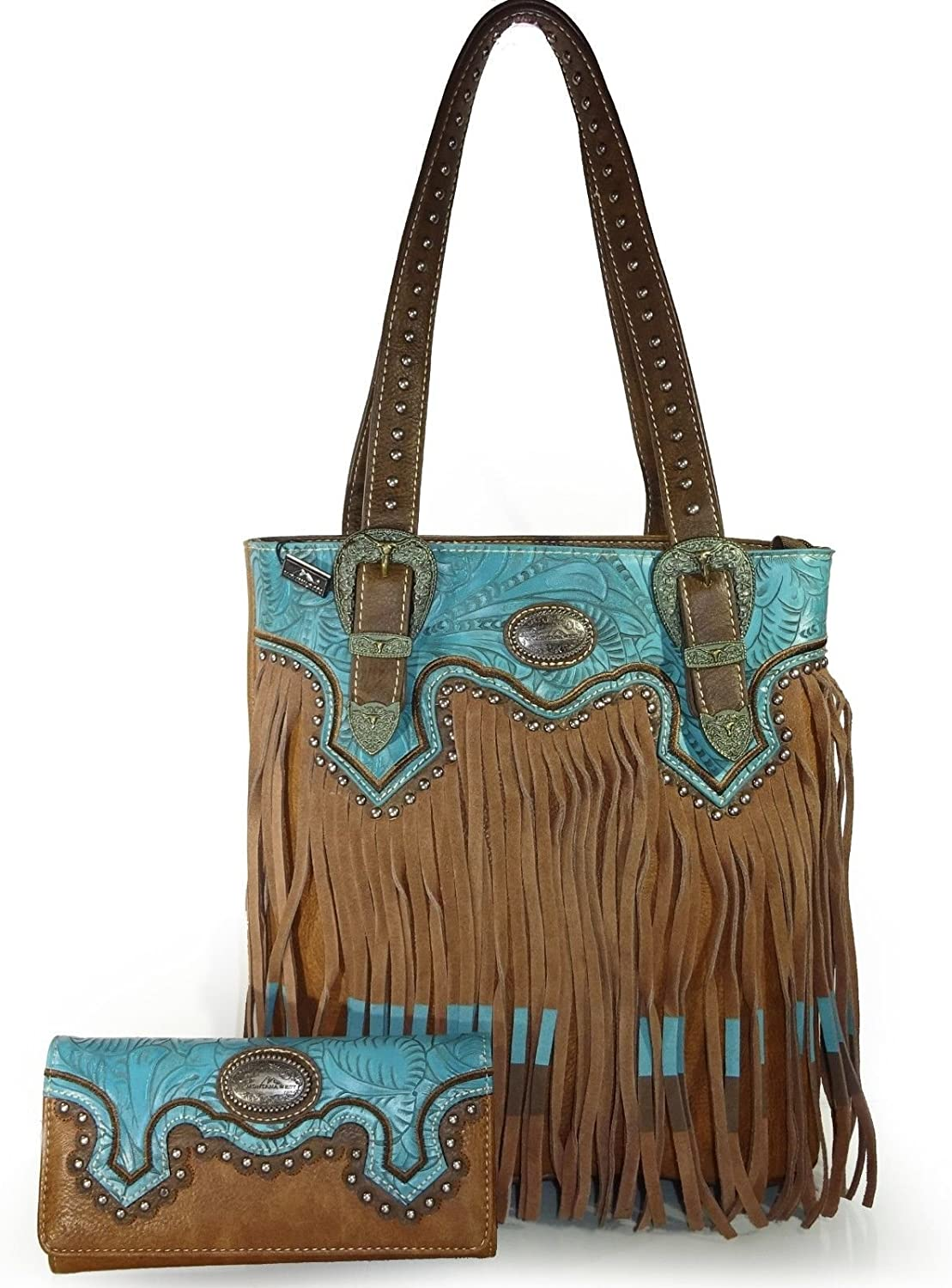 Montana West Concealed Gun Carry Floral Embossed Fringed Tote + Wallet Brn TQ