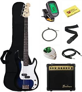 Stedman Beginner Series Bass Guitar Bundle with 15-Watt Amp, Gig Bag, Instrument Cable, Strap, Strings, Picks, and Polishing Cloth - Transparent Blue
