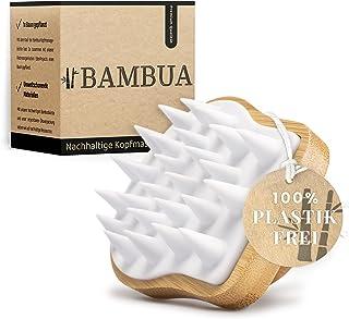 BAMBUA Hoofdhuid massageborstel - [100% plasticvrij] Shampoo borstel van bamboe - anti-roos-effect - voor hoofdmassage tij...