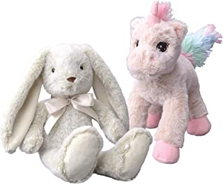 Dragon Drew Unicorn and Bunny Stuffed Animals - 2 Soft Plush Animal Toys for Baby, Toddler and Kids - Cute and Cuddly Frie...