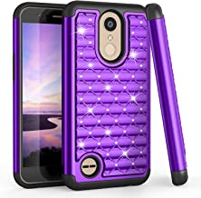 LG K20 V Case, LG K20 Plus Case for Girls Women, TILL(TM) Studded Rhinestone Crystal Bling Diamond Sparkly Luxury Shock Absorbing Hybrid Defender Slim Glitter Cute LG K10 2017/V5 Case Cover [Purple]