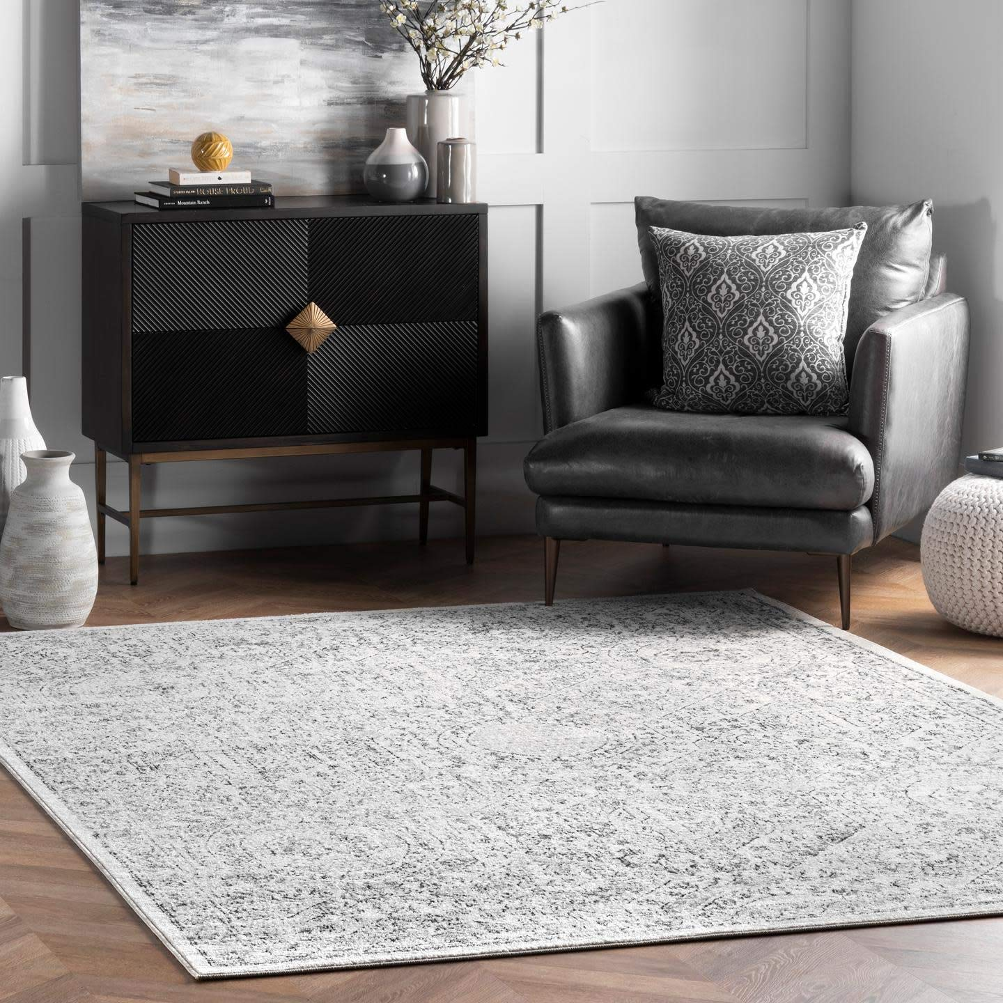 Amazon Com Nuloom Minta Vintage Area Rug 8 X 10 Grey Furniture Decor