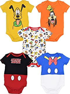 Disney Baby Boy Girl 5 Pack Bodysuits Mickey Mouse Donald Duck Goofy Pluto
