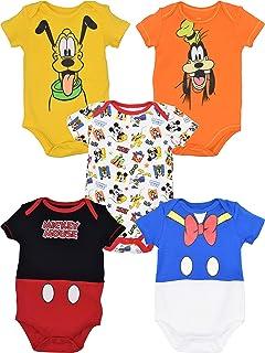 ccfb37b95 Disney Baby Boy Girl 5 Pack Bodysuits Mickey Mouse Donald Duck Goofy Pluto