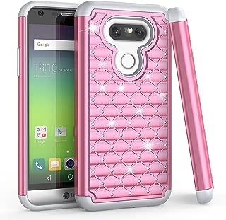 LG G5 Case, LG G5 Glitter Case For Girls, TILL(TM) Studded Rhinestone Crystal Bling Shock Absorbing Hybrid Dual Layer Rubber Plastic Defender Rugged Slim Combo Case Cover For LG G5 All Carrier [Pink]