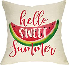 Softxpp Hello Sweet Summer Decoration Summer Farmhouse Throw Pillow Cover Watercolor Watermelon Sign Home Decor Cushion Case Decorative for Sofa Couch 18 x 18 Inch Cotton Linen