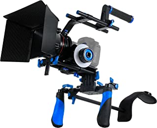 MARSRE DSLR Shoulder Rig Film Making Kit with Follow Focus, Matte Box, Pro C-Shape Cage Mounting Bracket and Top Handle for All DSLR Video Cameras and DV Camcorders