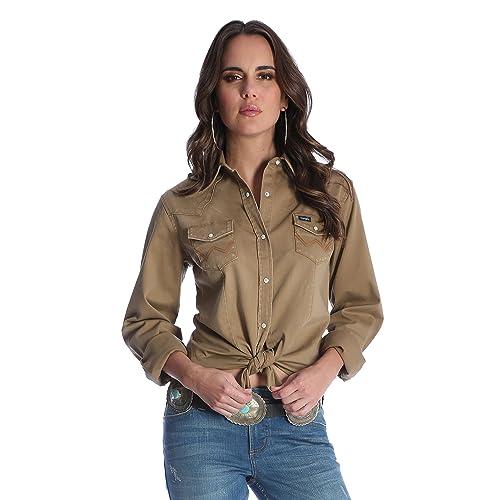 c96f098a292 Wrangler Women s Long Sleeve Western Snap Work Shirt