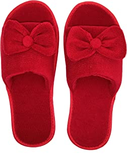 MF Open Toe Slippers with Bow Design for Girls Women Indoor Winter Bedroom Soft Fabric Sole Lovely Colors