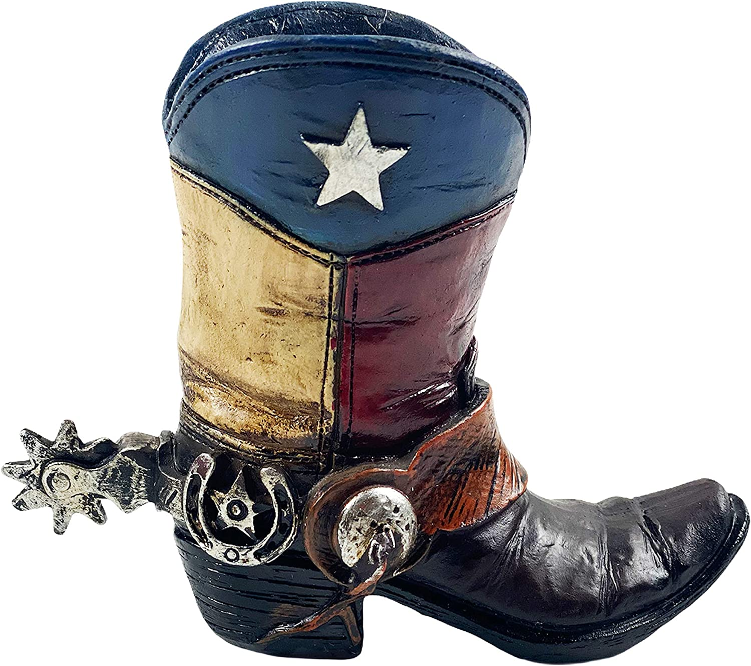 Urbalabs Western Cowboy Boot Texas Flag Pencil Holder Vase Distressed Decorative Cowboy Boots with Spurs Home Office Rustic Decor Country Living Pen Holder for Desk