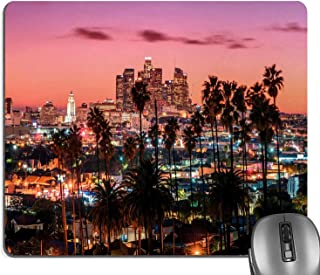 Knseva United States Mouse Pad, Vibrant Sunset Twilight Scenery Los Angeles Famous Downtown Palm Trees Mouse Pads