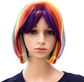 SWACC Rainbow Colors Straight Short Hair Bob Wig Synthetic Colorful Cosplay Daily Party Flapper Wig for Women and Kids with Wig Cap