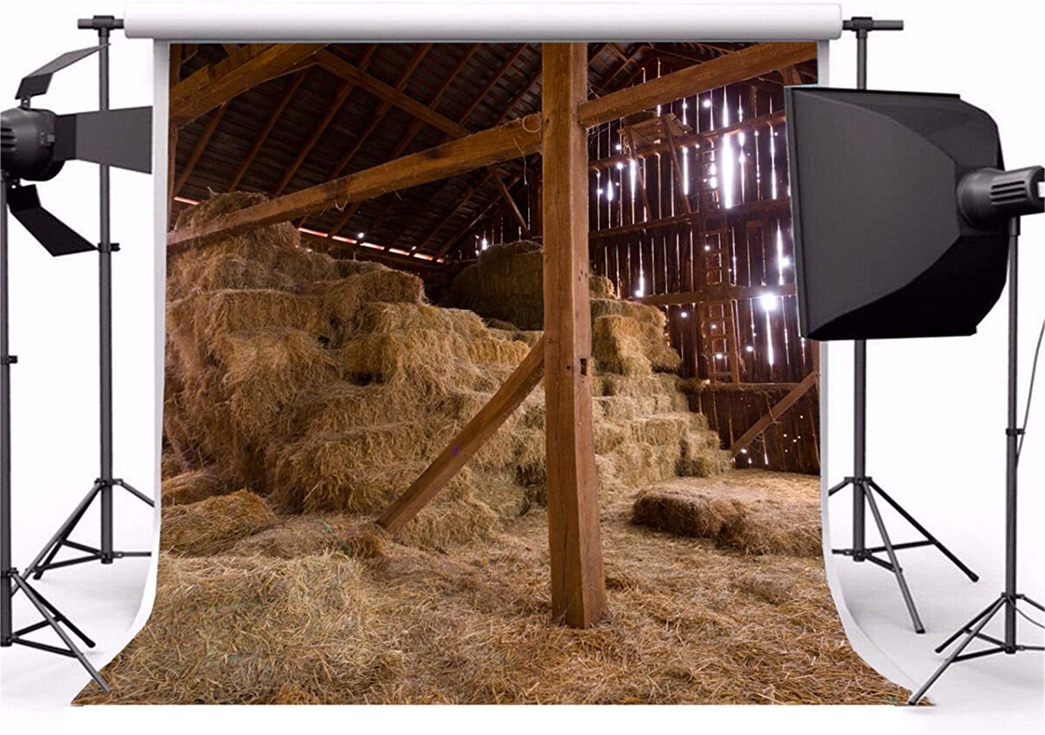 CSFOTO 10x6.5ft Old Barn Backdrop Cowboy Aged Agriculture Bale Farmhouse Rustic Farm Hay Roll Rural Countryside Photography Background Village Theme Party Photo Wallpaper