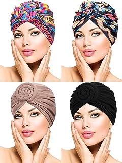 WILLBOND 4 Pieces Turban Flower Head Wrap Beanie Scarf Cap Hair Loss Hat for Men and Women