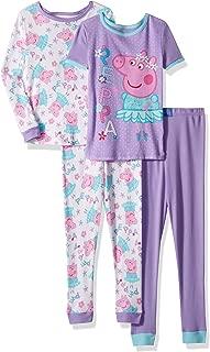 Peppa Pig Girls' Toddler Ballerina 4 Piece Cotton Pajama Set