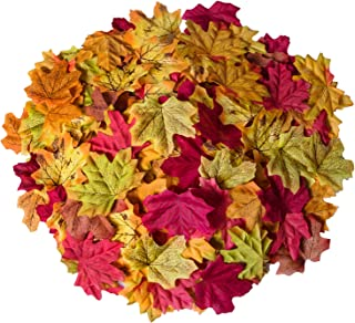 Bassion 1000 Pcs Assorted Mixed Fall Colored Artificial Maple Leaves for Weddings, Events and Decorating