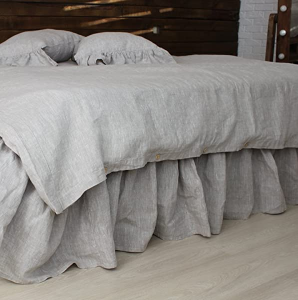 Linen Bed Skirt With Gathered Ruffles And Cotton Decking Natural Linen Oatmeal White Grey Pink Blue Colors