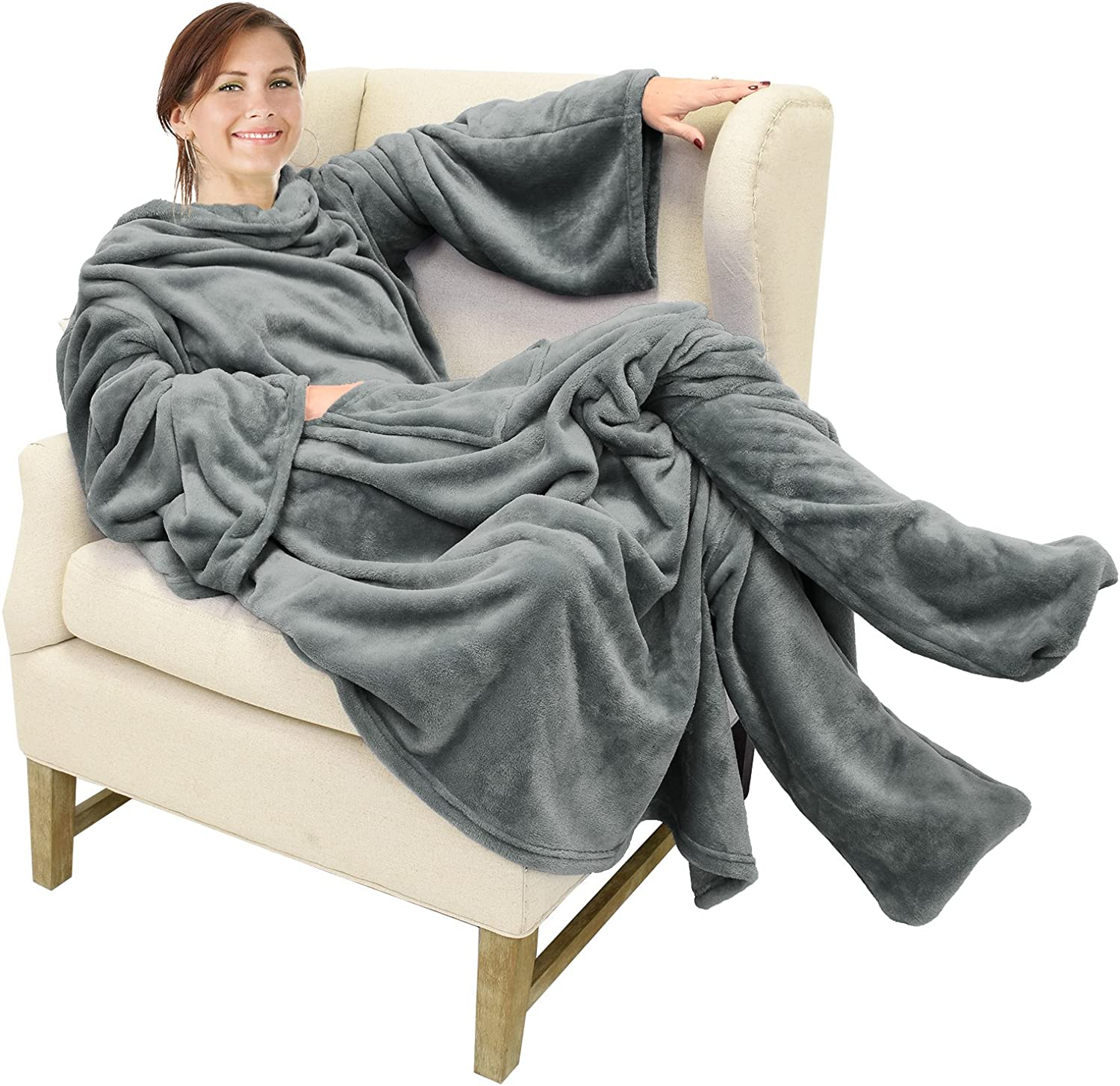 Catalonia Classy Wearable Snuggle Blanket with Sleeves and Foot Pocket Grey Soft Cosy Fleece Slankets for Women Warm Fluffy Plush Throws Winter TV Blanket for Sofa Couch 190 x 135 cm