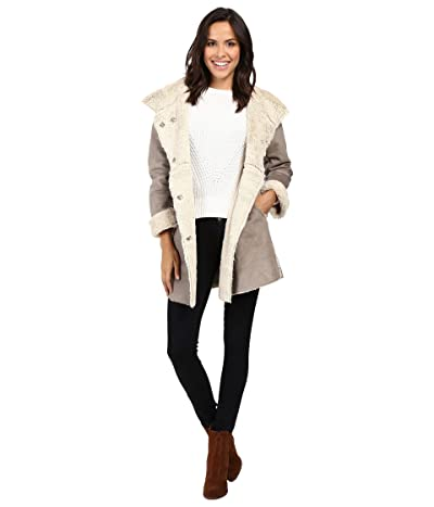Dylan by True Grit Madison City Faux Sueded Shearling Coat (Vintage Grey/Natural) Women