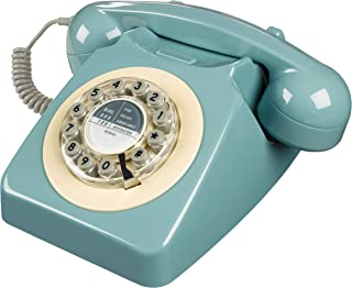 Wild Wood Rotary Design Retro Landline Phone for Home One Size French Blue
