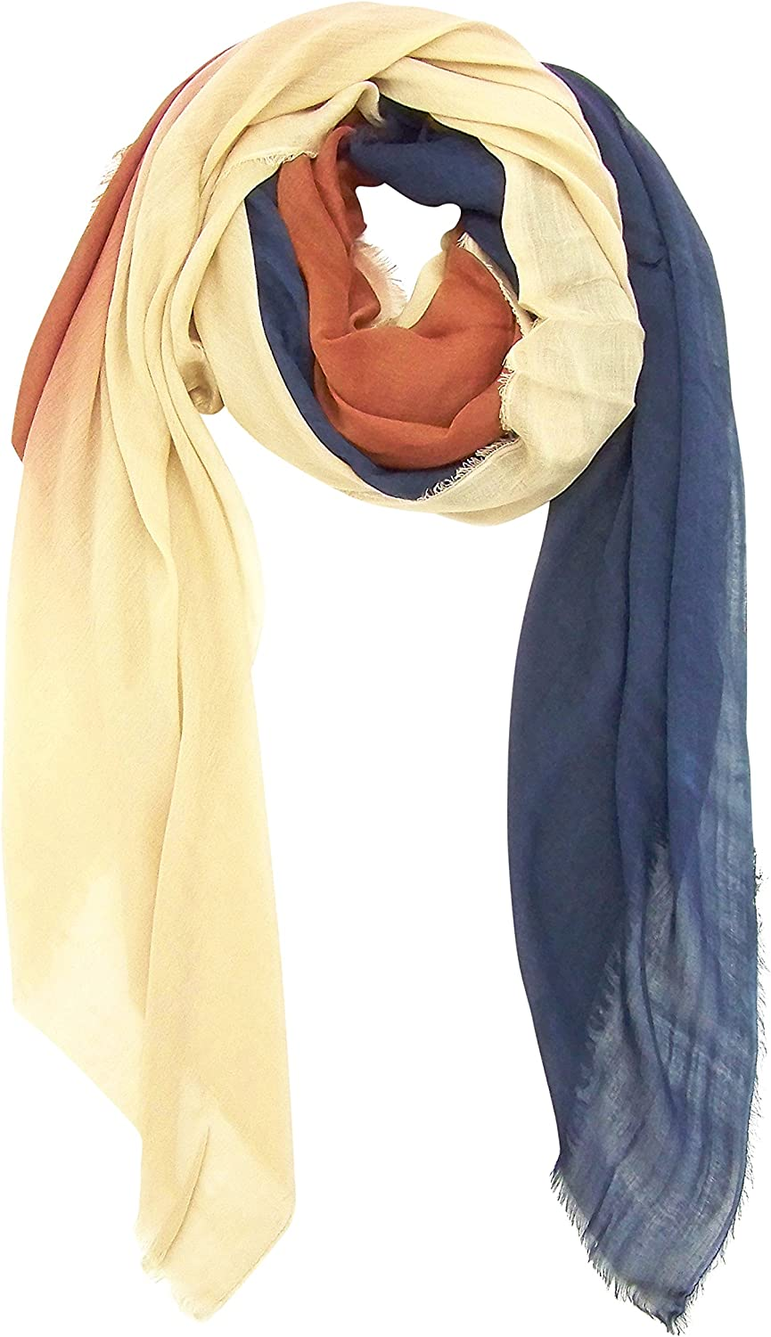 bluee Pacific Dream Cashmere and Silk Scarf in Tan Rust & Navy