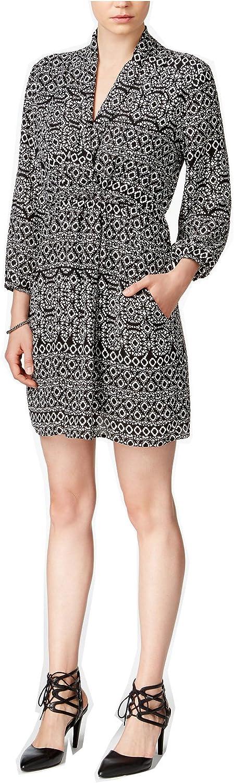 Bar III 4988 Womens B/w Chiffon Sheath Printed Wrap Dress L
