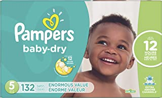 Diapers Size 5, 132Count - Pampers Baby Dry Disposable Baby Diapers, Enormous Pack