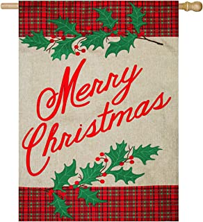 Evergreen Merry Christmas Plaid Outdoor Safe Double-Sided Burlap House Flag, 28 x 44 inches