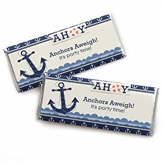 Ahoy - Nautical - Candy Bar Wrappers Baby Shower or Birthday Party Favors - Set of 24