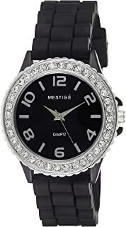 Mestige Women'S Black Dial Silicone Band Watch - Mwwt34,