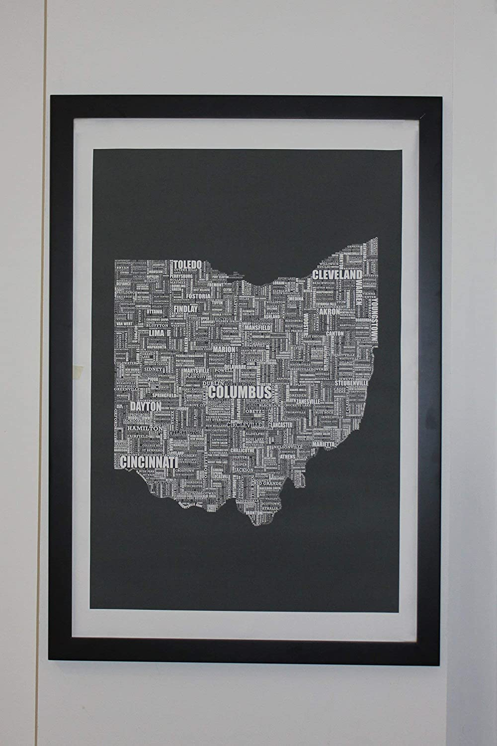 Save money Ohio Type shopping Map Canvas Poster 24 x 36