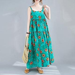 Daerzy Vestido feminino vintage solto sem mangas floral/listrado estampa plus size Boho Holiday Midi Dress