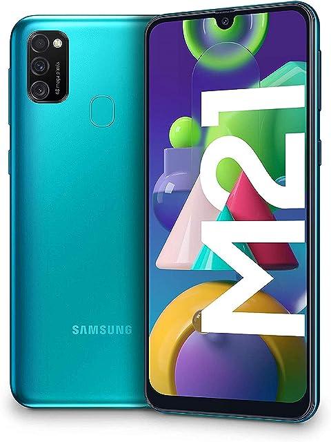 Samsung Galaxy M21 - Smartphone Dual SIM de 6.4 sAMOLED FHD+ Triple Cámara 48 MP 4 GB RAM 64 GB ROM Ampliables Batería 6000 mAh Android Versión Española Color Verde