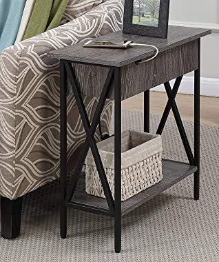 Convenience Concepts Tucson Flip Top End Table with Charging Station and Shelf, Electric, Weathered White