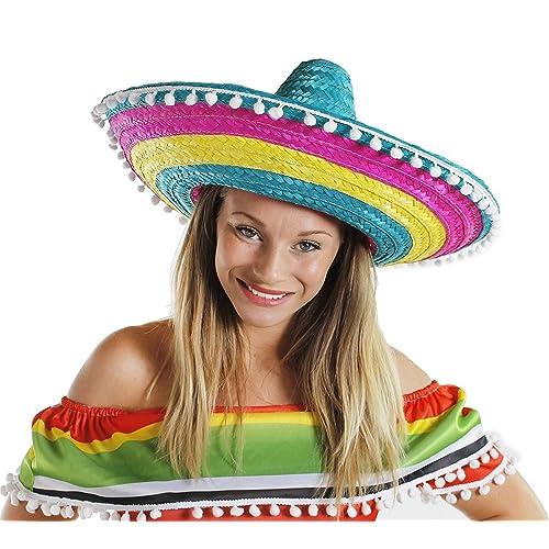 69e12fdd687d SOMBRERO MULTI COLOUR MENS LADIES MEXICAN FANCY DRESS ACCESSORY HAT WITH  POM POM EDGING BULK (